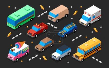 vehicles 3d colorful illustration set