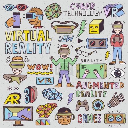 virtual augmented reality hand draw set