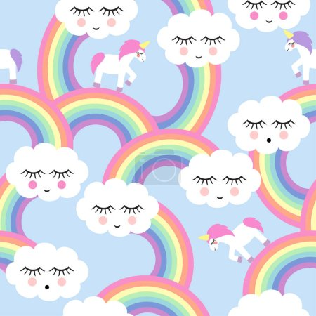 Seamless pattern with smiling sleeping clouds and rainbows