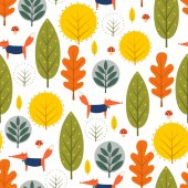 Autumn trees and fox seamless pattern on white background Decorative forest vector illustration Cute wild animals nature background Scandinavian style design for textile wallpaper fabric decor