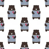 Cute cartoon teddy bear seamless vector pattern