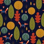 Autumn trees and fox seamless pattern on dark blue background