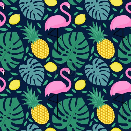 Seamless pattern with flamingo, pineapple, lemon and green palm leaves