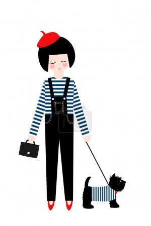 Cute fashion girl with scottish terrier on white background.