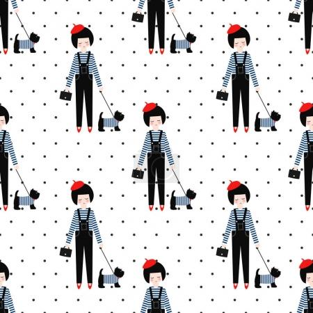 Cute girl with scottish terrier seamless pattern on polka dots background.
