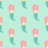 Cute pink hair mermaid girl seamless pattern on mint green waves background.