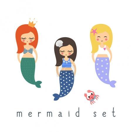 Cute mermaids girls set on white background.