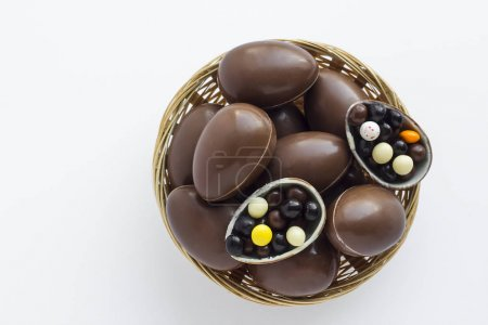 Photo for Close-up shot of delicious chocolate eggs in bowl, easter celebration concept - Royalty Free Image