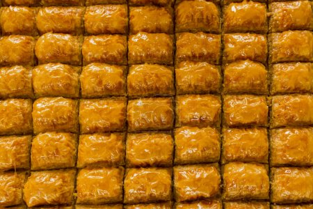 Photo for Close-up shot of delicious traditional turkish baklava for background - Royalty Free Image