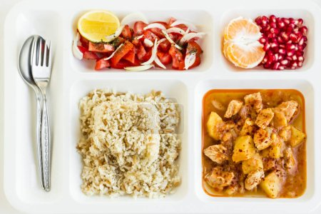 Photo for Close-up shot of delicious various food on food tray (tabldot) on white - Royalty Free Image
