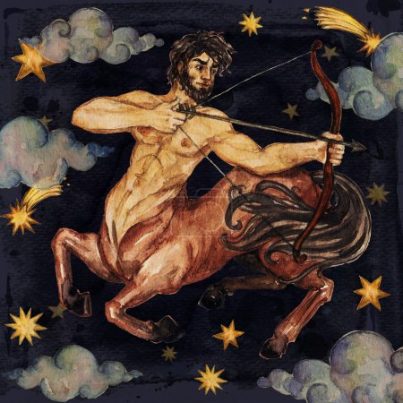 Zodiac sign - Sagittarius. Watercolor Illustration. Isolated.