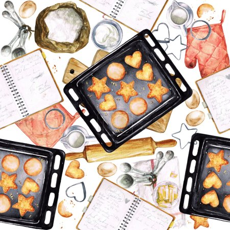 Photo for Baking Cookies. Watercolor seamless pattern. - Royalty Free Image