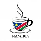 coffee logo made from the flag of Namibia