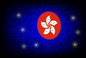 Flag of Hong Kong on a background of technology