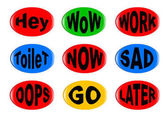 A collection of funny 3D buttons with various text instructions Easy color change and resize