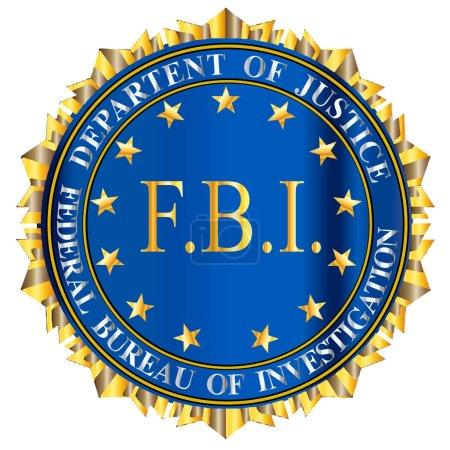 Illustration pour Sceau d'usurpation du Bureau fédéral de l'information sur fond blanc avec un grand texte du FBI central - image libre de droit