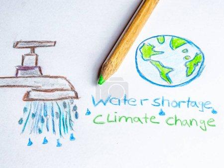 Wasserknappheit Klimawandel auf Papier gemalt