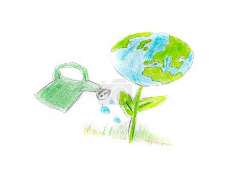 Boden als Pflanze mit der Gießkanne
