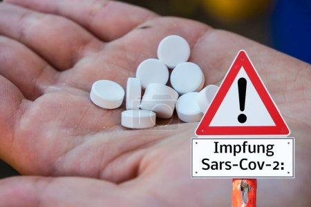 Impfwarnschild Sars-Cov 2