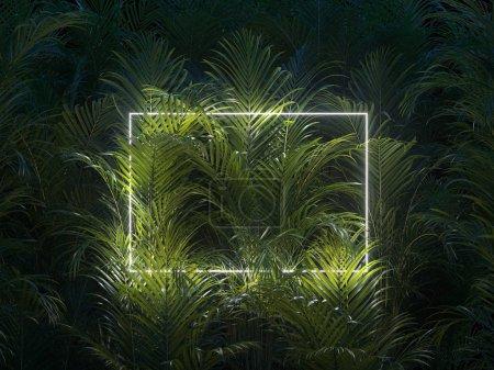 Photo pour Concept de nature minimale. Mise en page créative faite de feuilles tropicales avec cadre néon blanc. Pose plate . - image libre de droit