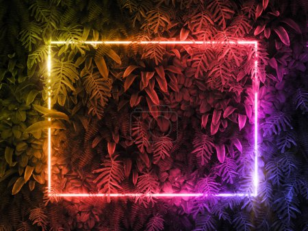 Photo pour Concept de nature minimale. Mise en page créative faite de feuilles tropicales avec cadre néon coloré. Pose plate . - image libre de droit