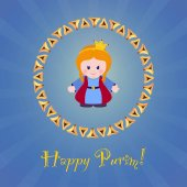 Jewish holiday of Purim. Greeting card with Esther