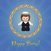 Jewish holiday of Purim. Greeting card with Mordecai