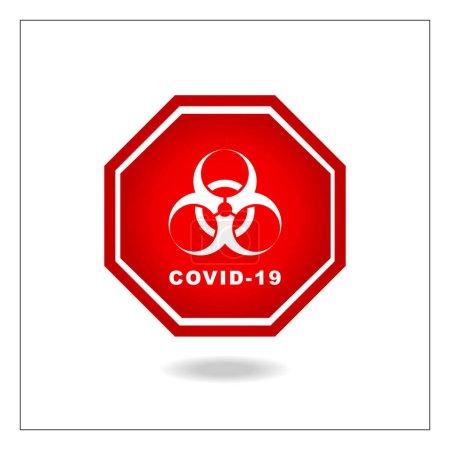 Illustration pour Covid-19 Vecteur pandémique : Signal de distance sociale - image libre de droit