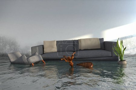 Photo for 3d render - Water damager after flooding in house with furniture floating - Royalty Free Image