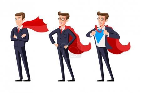 Illustration for Super businessman vector men cartoon illustration art - Royalty Free Image