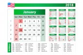 2018 Green yearly vector calendar Federal holidays moon and numbers of weeks