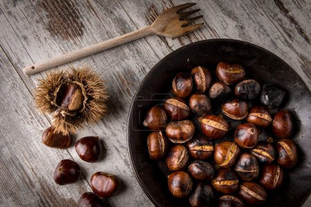 roasted chestnuts cooked in a pot
