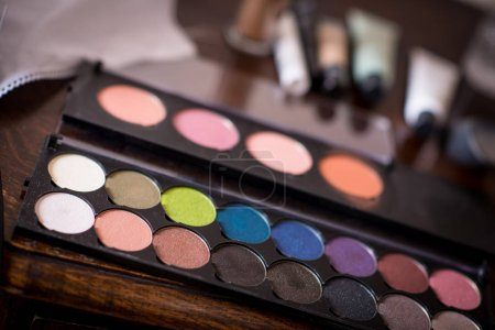 Photo for Palette for make up of a model - Royalty Free Image
