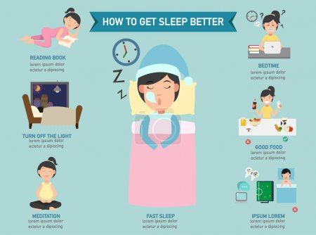 Illustration for How to get sleep better infographic,vector illustration - Royalty Free Image