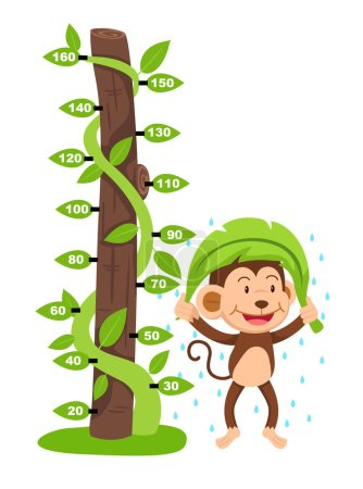 Meter wall with monkey.illustration.