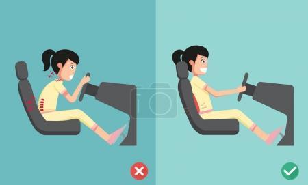 Illustration pour Meilleures et pires positions pour conduire une voiture, illustration, vecteur - image libre de droit