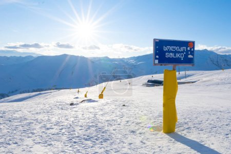Soliko sign board with slope and mountains in the ...