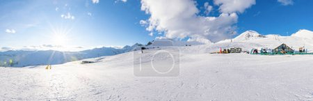Paoramic shot of soliko area with slope, cafe and ...