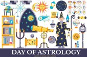 Astrology house icons design illustration set Flat horoscope items concept Vector illustration layout background