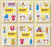 breastfeeding week vector brochure cards thin line set Child template of flyear magazines posters book cover banners Layout kids elements outline illustrations modern pages