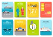 coast guard thin line brochure cards set Guarding traditional template of flyear magazines posters book cover banners Devices outline invitation concept background Layout quality modern pages