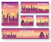 Set of Ottawa landscape country ornament travel tour concept Culture traditional magazine book poster abstract element Vector decorative ethnic greeting card or invitation