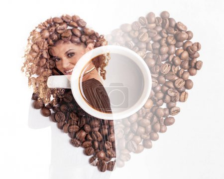 Double exposure of beautiful woman and coffee heart made of coffee beans