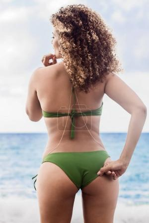 Beautiful woman back portrait wearing bikini and looking at sea
