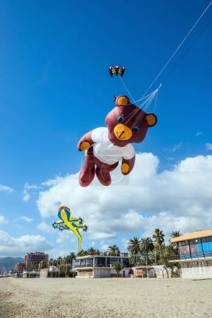 Cute bear-shaped kite at the beach