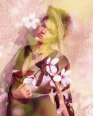 Double exposure of beautiful and elegant woman portrait and cherry blossoms