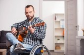 Young disabled guy performing a song