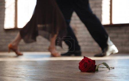 Crafty senior dance couple dancing tango at the ballroom