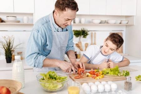 Pleasant father cooking with his son
