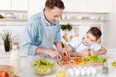 Příjemný otec vaření s jeho synem